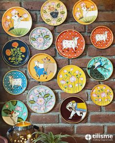 Wooden Plates - Adorn your accent wall with these hand-painted wooden plates. Inspired by Indian folk art, these pl - Ceramic Painting, Fabric Painting, Ceramic Art, Wooden Painting, Buddha Painting, Krishna Painting, Pichwai Paintings, Indian Art Paintings, Abstract Paintings