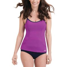 Dolfin Women's Aquashape Scoop Neck Tankini Top, Size: Medium, Purple