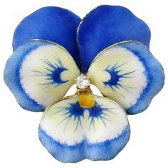 A.J. Hedges Art Nouveau 14K Enamel Diamond Large Pansy Brooch : Syosset Antiques | Ruby Lane