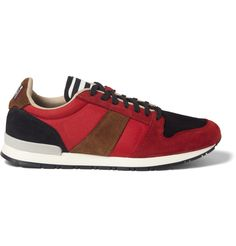 AMI - Suede and Mesh Panelled Sneakers