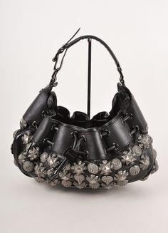 """Black """"Warrior"""" Studded Leather Drawstring Bag"""