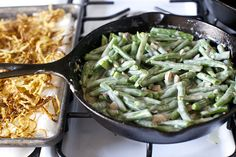 green bean casserole with fresh green beans and homemade cream of mushroom sauce. also has instructions for homemade fried onions, but I didn't have time for that :) excellent recipe!
