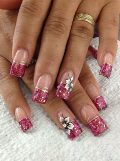 Pink glitter French with flowers