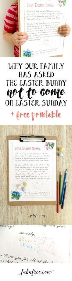 Easter has been too much about the Easter Bunny & not enough about a Christ Centered Easter. Read WHY we are asking the Easter Bunny to stay home on Sunday.