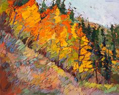 Colorado aspens landscape painting over 24 karat gold leaf, by Erin Hanson