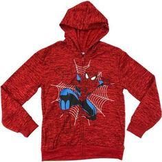 Marvel Ultimate Spiderman Boys Full Zip Fleece Hoodie With Space Dye, Size: 14/16, Red