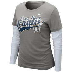 Nike Milwaukee Brewers Women's League Double Layer Long Sleeve T-Shirt... ($26) ❤ liked on Polyvore featuring tops, t-shirts, charcoal, white long sleeve top, nike t shirts, polish t shirts, long tee and long sleeve t shirts