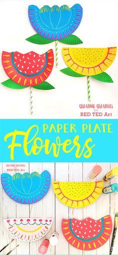 Paper Plate Flower Craft For Kids - Creating Creatives #paperplateflowers #flowercraftsforkids #springcrafts