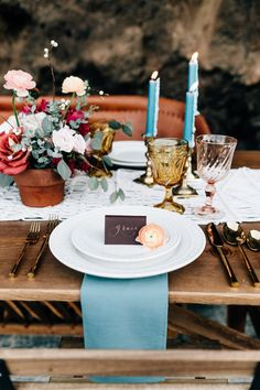 Details Gallery - Kay + Bee Wedding Photographer | cerulean napkin with matching candles | yellow colored glass and macrame table runner