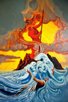 Pele digging her fiery pit in contention with her sister. How the Hawaii chain was formed