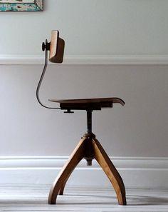 Vintage Bauhaus Oak Architects Desk Chair by OrmstonSaintUK, £320.00