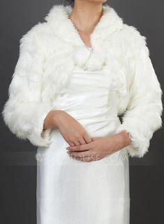 [US$ 22.99] Long Sleeve Faux Fur Wedding Wrap