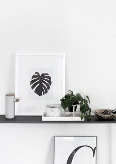 Free botanical monstera wall art download. Minimal and Scandinavian style.