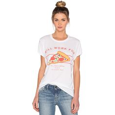 The Laundry Room Will Work For Pizza Rolling Tee Tops ($56) ❤ liked on Polyvore featuring tops, t-shirts, graphic tees, white graphic tee, white graphic t shirts, white top and white tee