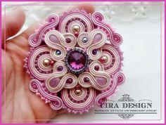 Soutache broche rose, de rose et de lilas avec cristal swarovski
