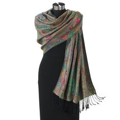 """Paisley Pashmina.   A Passion for Pashmina Exclusive! Inspired by the traditional shawls of Kashmir, this paisley-printed pashmina delights you with elegant sheen and drape, and it's every bit as beautiful on the reverse. Fringed in black. Viscose/acrylic. Dry clean. Imported. Color: Black/Multi. 24"""" x 72""""."""