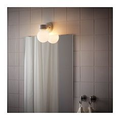 IKEA - VITEMÖLLA, Wall lamp, , Gives a diffused light; good for spreading light into larger areas of a bathroom.Flexible; can be mounted with the light turned downwards or upwards.