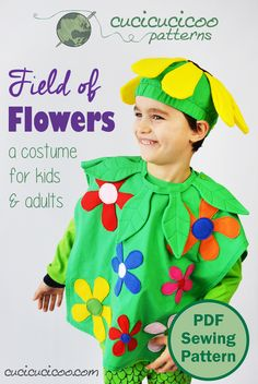 Everyone loves a bright and happy homemade costume especially if its covered in flowers! The new Field of Flowers costume pattern has body hat and neck piece in 11 sizes so everyone in the family can dress up! Diy Projects For Adults, Diy Gifts For Kids, Presents For Kids, Sewing Projects For Beginners, Sewing Tutorials, Sewing Crafts, Kids Diy, Sewing Ideas, Craft Projects