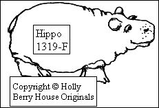 Hippo rubber stamp----cute hippo to go on Noah's Ark, designed by Kathryn Read at Holly Berry House Originals