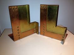 """Walter von Nessen Chase Machine Age Industrial Art Deco Brass Copper Bookends - measure 6"""" h by 5-1/4"""" w by 4-1/4"""" d - this example unmarked."""