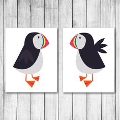 *You choose the background color* Colorful Puffins Customizable Digital Art Print Gift Set on Etsy, $18.00