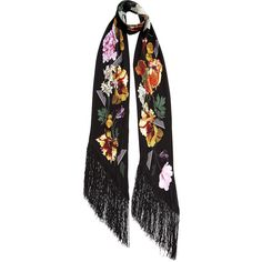 Rockins Black Floral Classic Skinny Fringed Scarf (£165) ❤ liked on Polyvore featuring accessories, scarves, fringe shawl, floral print scarves, long scarves, oblong scarves and fringe scarves