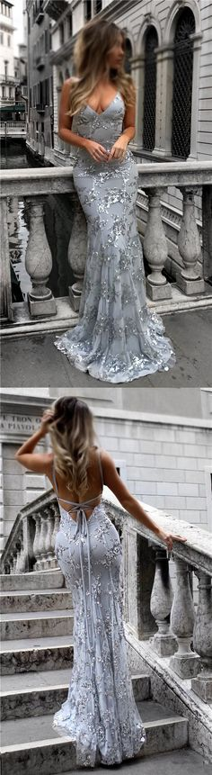 Silver Prom Dresses, Long Prom Dresses, Modest Prom Dresses Sheath/Column, 2018 Prom Dresses For Teens, V-neck Prom Dresses Tulle Draped #silverdress #evening #gowns