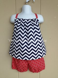Navy and white chevron top with red shorts by ThisNThatByNicolette, $25.00