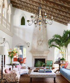 Mark Sikes, Elle Decor Magazine, Arched Doors, Beach Villa, Interior Architecture, Interior Design, Visual Comfort, Living Room Sofa, Living Rooms