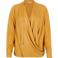 Yellow pussybow wrap blouse £32.00