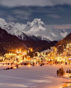 'Golden nights' in Sankt Moritz Switzerland. Beautiful Places To Visit, Wonderful Places, Cool Places To Visit, Amazing Places, Switzerland Hotels, Switzerland Vacation, Saint Moritz, World Travel Guide, Romantic Destinations
