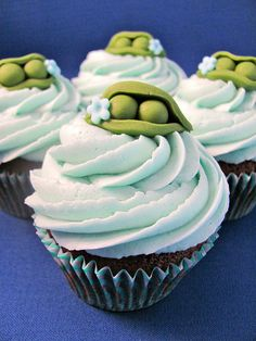 Peas in a pod...could be a great baby shower or wedding cupcake decoration