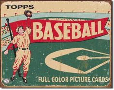 """12.5"""" x 16"""" Metal Vintage Sign depicting what the actual Baseball Card Wrapper looked like in 1956!  Four small holes in each corner for easy display.  $16.50   & Free Shipping"""
