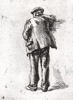 """""""Leaning on the Wall,"""" Isabel Bishop, 1927, etching, 4. 4 x 3"""",  Allison Gallery."""