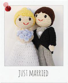 Crafteando, que es gerundio: ¡Los amigurumis de mi pastel de boda! Wedding topper. Novios amigurumi