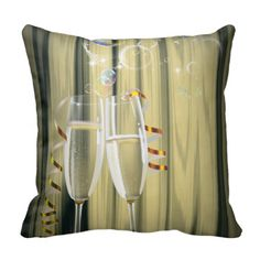 Elegant Champagne glasses celebration party Pillows perfect for that New Years Eve décor.