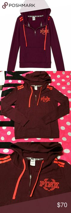 Victoria's Secret PINK Ultimate Half Zip Hoodie Gorgeously colored half zip hoodie for victorias secret pink collection. Perfect for fall and winter.  Feel free to make an offer! In excellent condition. Worn once. No flaws. PINK Victoria's Secret Tops Sweatshirts & Hoodies