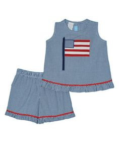 This Blue Americana Ruffle Tank & Shorts - Infant & Toddler by Monday's Child is perfect! #zulilyfinds