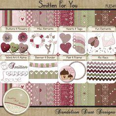 Digital Scrapbooking Smitten For You Kit #DandelionDustDesigns #DigitalScrapbooking