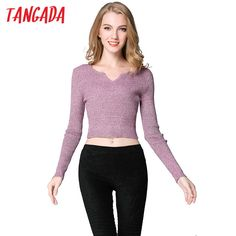 Fair price Tangada Autumn Fashion Women Short Sweaters Cropped Pullovers Knitted V-Neck casual stretch Long Sleeve Brand Female Tops 2T6  just only $12.98 with free shipping worldwide  #womansweaters Plese click on picture to see our special price for you