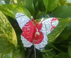 Decorative #upcycled butterflies for the garden or indoor plants.  Made from soda cans!