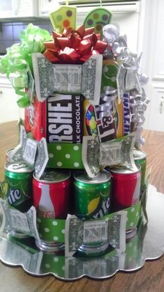 Another pinner said:Made this for my niece's 16th birthday with her favorite drinks and candy and money bows.