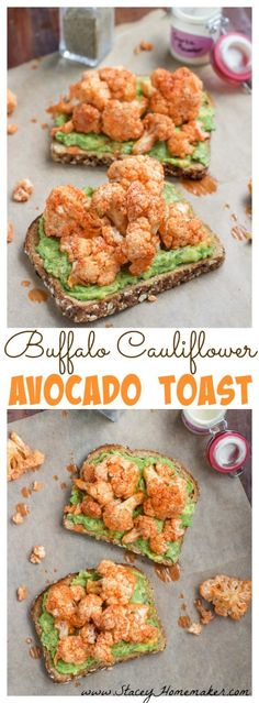 Spice up your plain avocado toast breakfast by adding last night's leftover buffalo cauliflower on top! Buffalo cauliflower avocado toast will be your new go-to! Vegan and dairy-free.