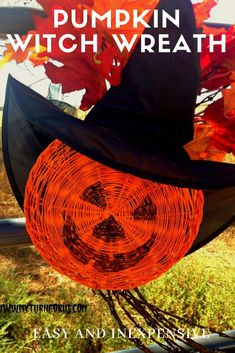 Make a Pumpkin Witch Decoration with a dollar tree Halloween witch hat. Or/and use a dollar tree Halloween wreath for inexpensive Halloween Yard Ideas. Dollar Tree Halloween, Halloween Witch Decorations, Halloween Witch Hat, Scary Halloween, Halloween Crafts, Halloween Ideas, Witch Hats, Happy Halloween, Easy Pumpkin Faces