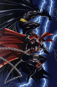 Spawn & Batman by Todd McFarlane-	- Enter to win the complete #Batman trilogy -- https://www.facebook.com/MovieRoomReviews?sk=app_228910107186452