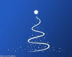 Árbol de Navidad PPT gratis con fondo azul y diseño de árbol para tarjetas navideñas y presentaciones de PowerPoint