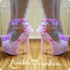 Frosting Shortcake Lace and Pearl Pumps by kaylastojek on Etsy Dr Shoes, Me Too Shoes, Shoes Heels, Kawaii Shoes, Kawaii Clothes, Pretty Shoes, Cute Shoes, Crazy Heels, Lace Cuffs