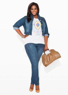 Ashley Stewart- Rhinestone & Studs Denim Jacket, Aztec Fringe Back Shirt, Rhinestone & Silver Studded Jeans.