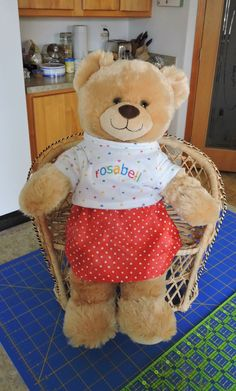 Poor Emmy has had to wait for me to fulfill her special order – a t-shirt and skirt for Rosabell, her Build-a-Bear. Skirt Patterns Sewing, Doll Clothes Patterns, Doll Patterns, Clothing Patterns, Build A Bear Clothes Pattern, Sleep Teddies, Build A Bear Outfits, Teddy Bear Clothes, Pet Toys
