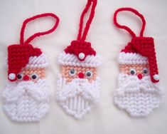 Christmas Ornaments Santa Head Ornaments Set of 3 by theicepalace